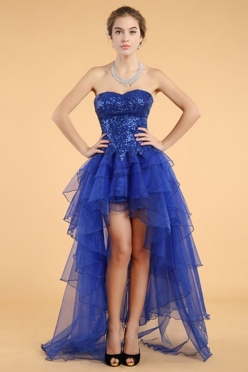 Dressesmall Simple Blue Organza A Line Sweetheart High Low Sequins Cocktail Dress