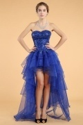 Simple Blue Organza A Line Sweetheart High Low Sequins Cocktail Dress