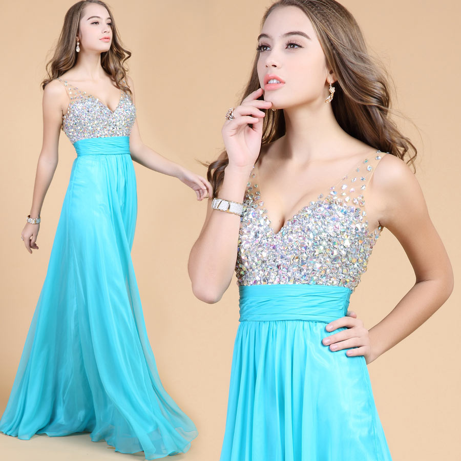 Beading Straps Chiffon Long Formal Dress top design details