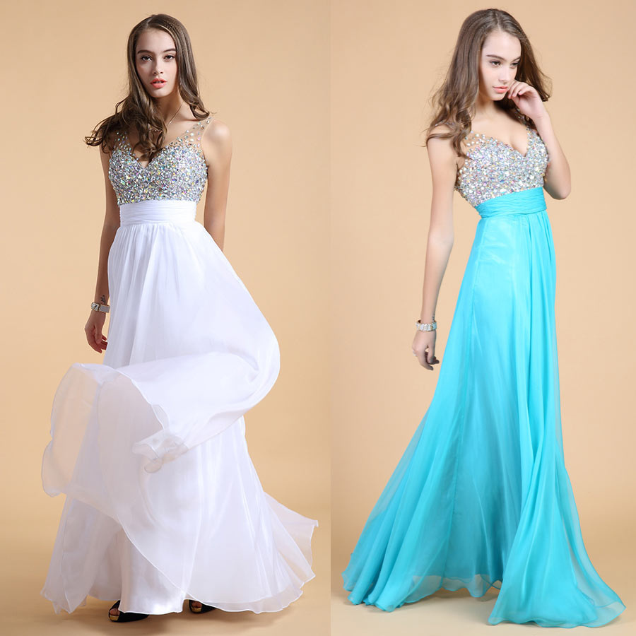 blue and white beading straps long formal dresses