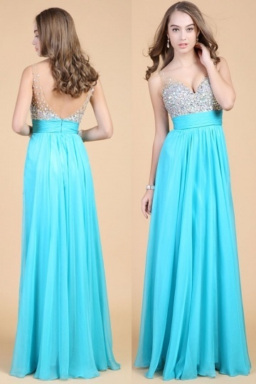 Dressesmall Beading Straps Chiffon Long School Formal Dress