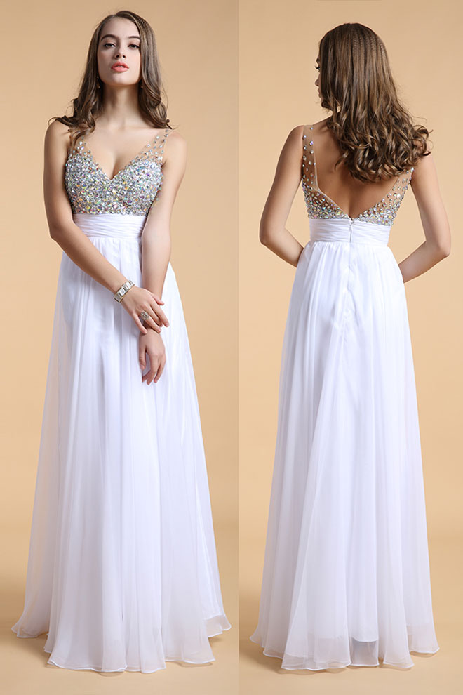 Sexy Long Prom Evening Dress With Sequined Bust Backless Princess