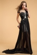 Gorgeous Chiffon A Line Jewel Long Black Appliques Evening Dress