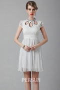 Chiffon White Lace Short Cocktail Dress