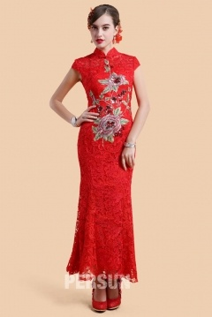 Wellington Chinese Qi Pao in Lace with Embroidery