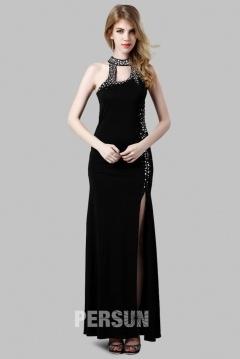 Noire robe longue fendue