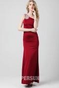 Robe rouge simple à encolure asymétrique