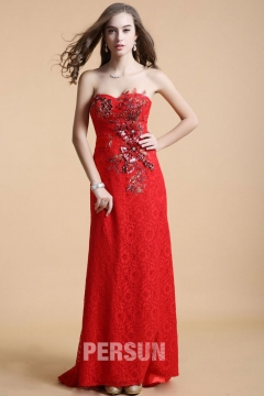Wednesbury Long Red UK Prom Gown in Lace with Splendid Appliques