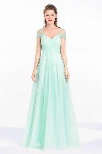 A-Line Sweetheart Tulle Long Bridesmaid Dress for Wedding