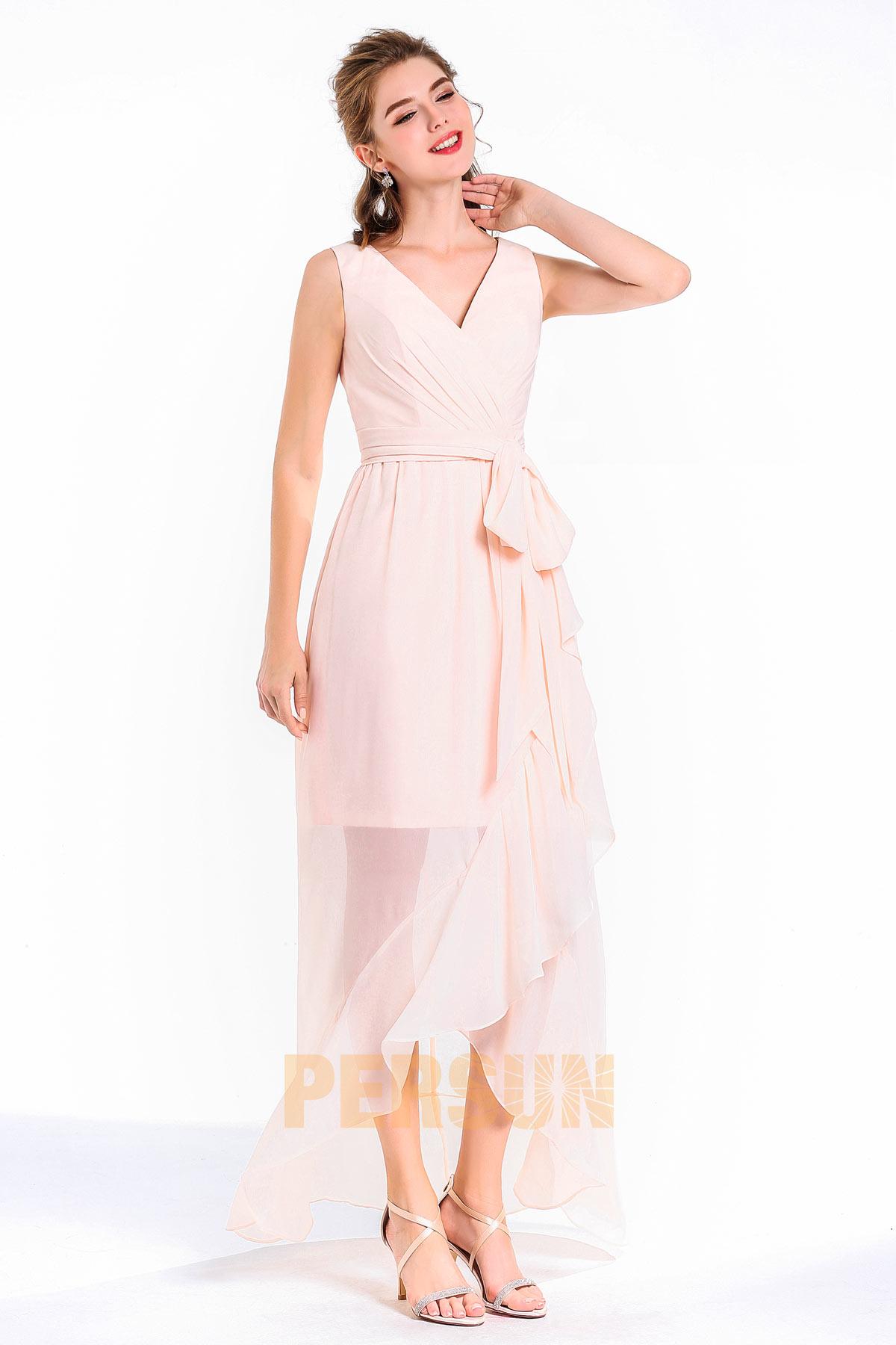A-linie V-Ausschnitt lang schleife Band rosa Abendkleid aus Chiffon