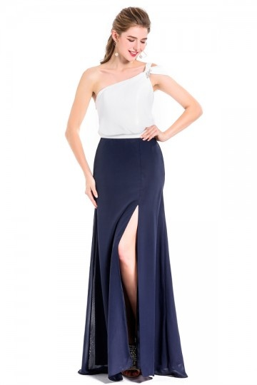 Chic One shoulder Color Block White & Navy Blue Evening Dress with Front Slit