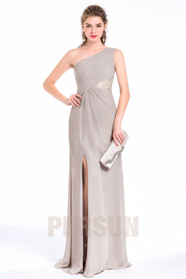 Long Split Light Grey pleated bodice asymmetrical neckline Evening Dress With Lace Floral