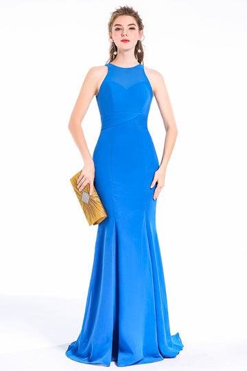 Azure Blue Mermaid Floor Length Prom / Evening / Bridesmaid Dress
