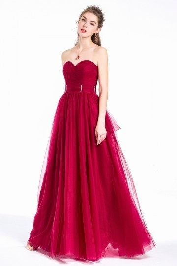 Charming Princess Long Burgundy Tulle Sweetheart  Evening Party Dress