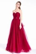 Burgunder Tüll Prinzessin Abendkleid mit herzgeschnittenem Bustier