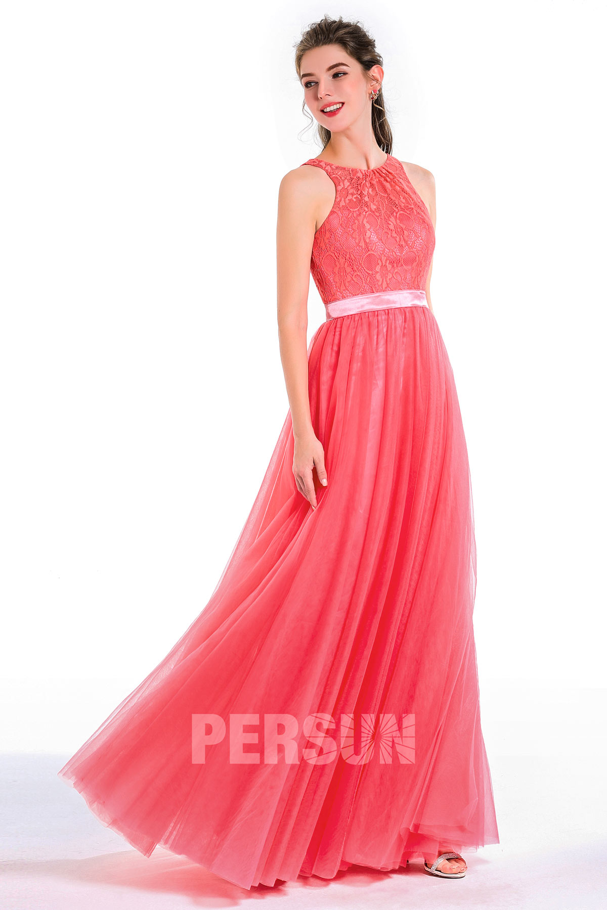 Princess-Stil Rund-Ausschnitt gefalten rosa Ballkleid lang band falten