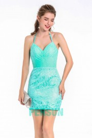 Short  Aqua Green Lace Cocktail Dress With Detachable Skirt