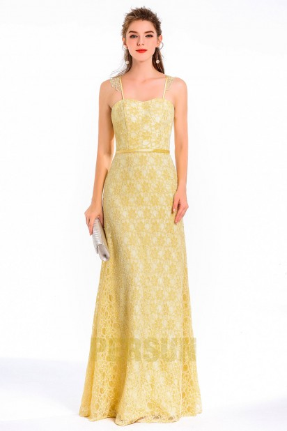 Vintage-langes gelbes Spaghettiträger Spitze-Abendkleid  Persun