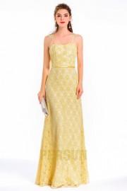 Vintage-langes gelbes Spaghettiträger Spitze-Abendkleid
