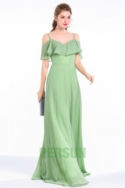 A-line Spaghetti Straps Long Chiffon Grass Green Bridesmaid Dress With Ruffles