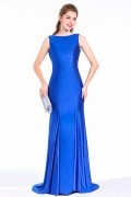 Sheath Evening Gown Dress In Royal Blue Jersey Draped Back With Beading Sash