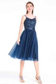 A-line Straps Navy Blue Short Tulle Beading Cocktail / Bridesmaid Dress