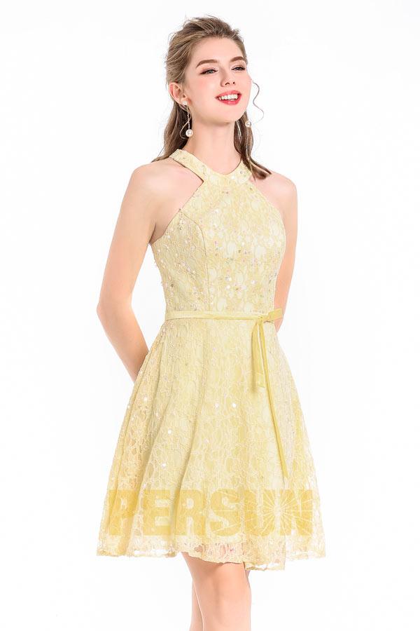 A-linie Rund-Ausschnitt knielang gelbes Spitze Abendkleid mit Band