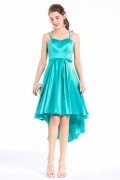 Asymmetrical Satin Sea Blue Green Straps Short Bridesmaid Dress With Belt