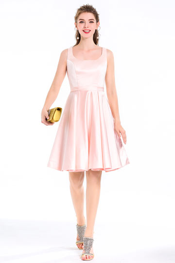 Trapeze Square Neck Short Satin Cocktail Dress With Bow in Cut-out Back