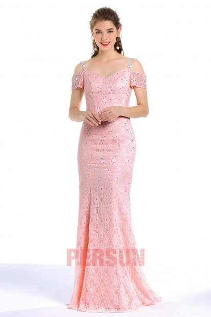 Elegant  Lace Mermaid Pink Long Evening Dress Embellished With Rhinestones