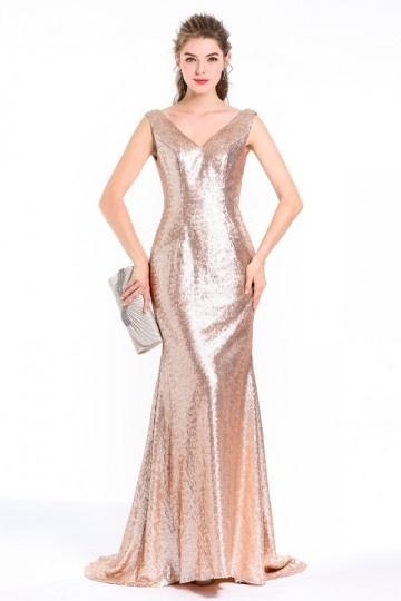 Schick Meerjungfrau golden Champagner Pailletten Abendkleid Persun