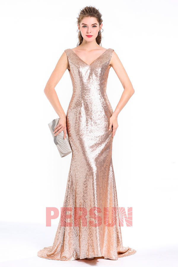 Meerjungfrau-Stil V-Ausschnitt goldes Pinsel-Schleppe Ballkleid