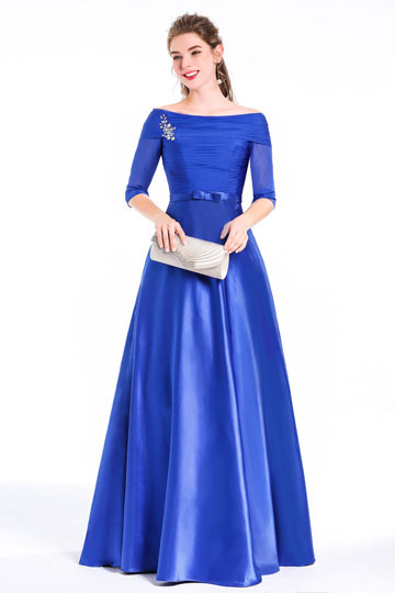 Princess Bateau Sweep Train Satin Tencel Prom / Evening Dress With Beading Bow Pleats