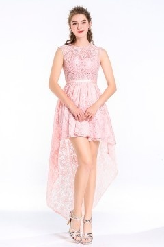 High low/Princess Scoop Neck Lace Blushing Pink Cocktail Dress