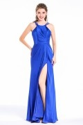 Dark Royal Blue Backless Wedding Bridesmaid/Evening Dress With Split Front Straps Draped Details