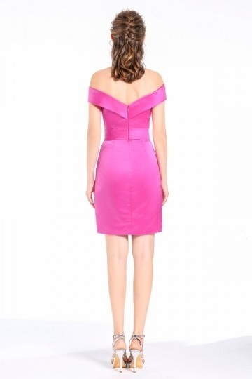 aeb120c1cb Sheath Column Off-the-Shoulder short Satin Cocktail Dress. previous.  Product Image Product Image ...
