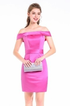 Sheath/Column Off-the-Shoulder short Satin Cocktail Dress