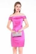 Off -Schulter rosa kurz Cocktailkleider aus Satin