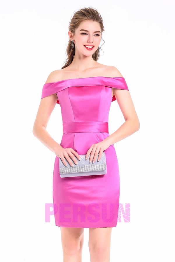 Etui-linie Off-Schulter mit 1/4 Ärmel rosa kurz Brautjungfernkleid