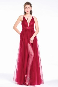 Sexy V-Neck Split Front  Burgundy Long Tulle Prom Ball Dress