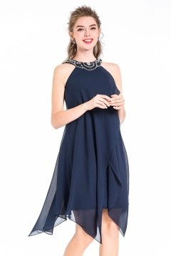 A-Line Night Blue Short Chiffon Irregular Pearls Cocktail Dress