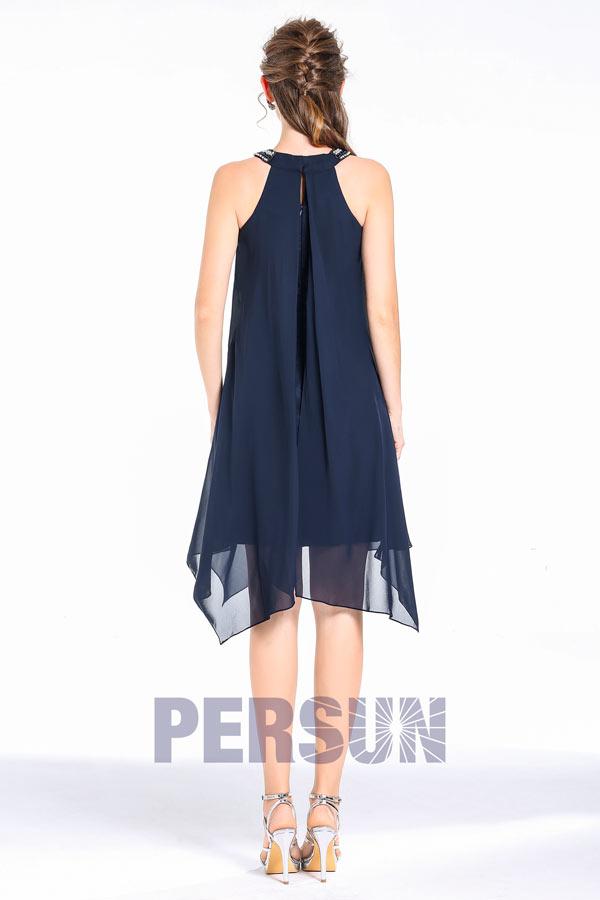 Maxi robe bleu nuit cocktail col montant parée de strass & jupe irrégulière