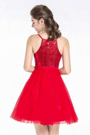 c384a21316 A-line Sexy Short Red Tulle Sequin Spaghetti Strap Cocktail Homecoming Dress.  previous. Product Image Product Image