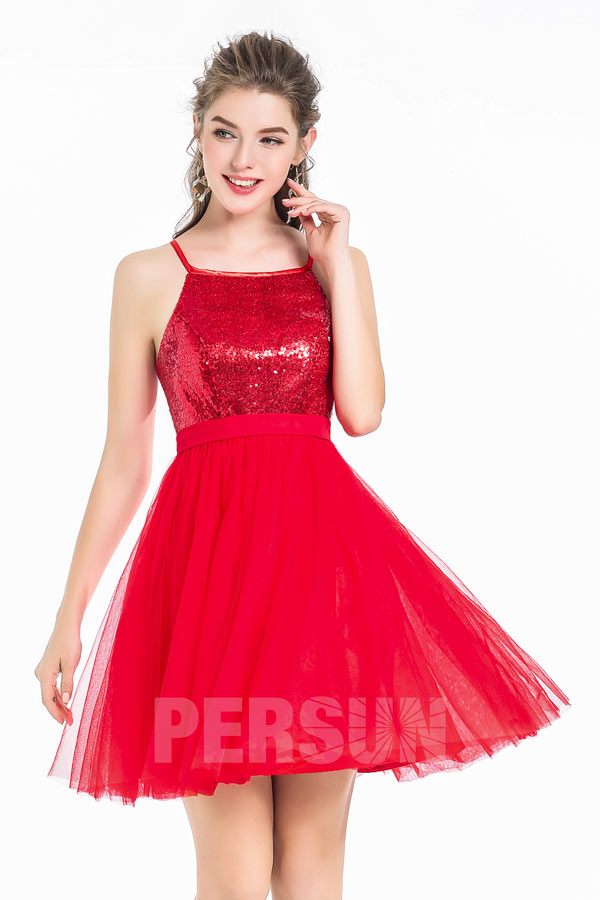 A-Line Sexy Short Red Tulle Sequin Spaghetti Strap Cocktail Homecoming Dress