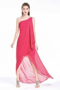 Robe fuchsia bascule asymétrique orné de strass pour danse