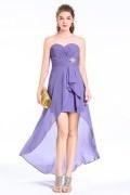 Lila vorne kurze hinten lang chiffon Abendkleid mit Kristalle Brosche