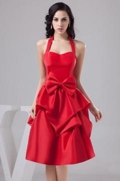 Robe cérémonie mariage rouge courte col américain à noeud papillon