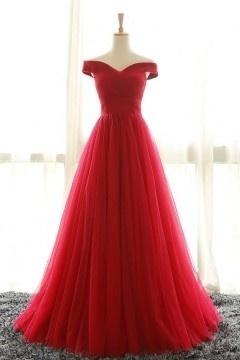 Robe de gala rouge longue à épaule dégagée