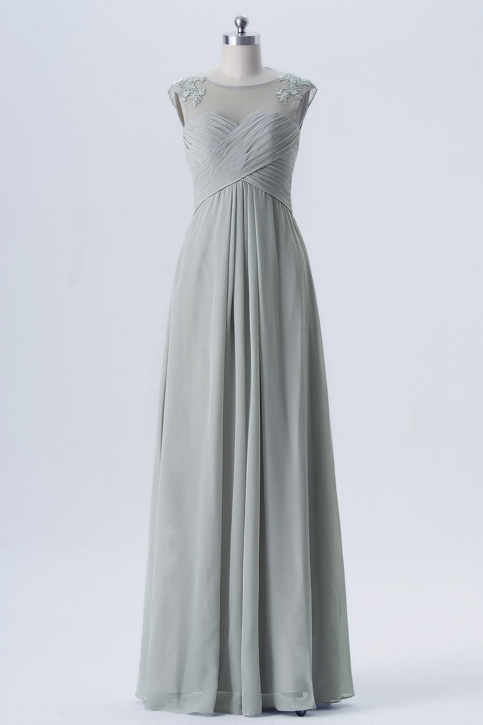 robe grise longue pour cocktail de mariage encolure illusion. Black Bedroom Furniture Sets. Home Design Ideas