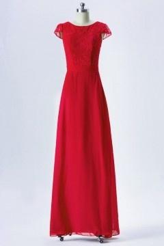 Robe de gala rouge longue à haut dentelle recouverte